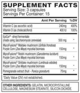 Image of AdvoCare ImmunoGuard Nutrition Facts